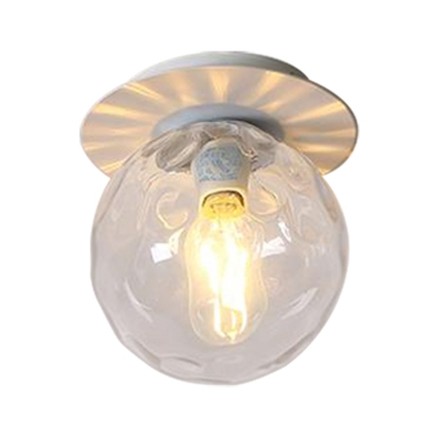 Gray/White/Green/Wood Finish Orb Light Fixture Ceiling Nordic 1 Head Close to Ceiling Light with Clear Hammered Glass Shade