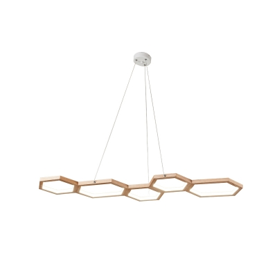 Honeycomb Island Chandelier Light Nordic Style Wood Led Hanging Lamp in Third Gear