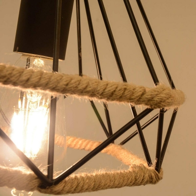 Loft Industrial Plug In Pendant Light with Wire Cage 1 Light Metal and Rope Drop Ceiling Light in Black