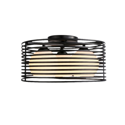 Metal Drum Semi Flushmount with Orb Frosted Glass Shade Modern 3 Lights Flush Lighting in Black/White