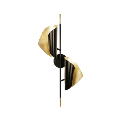 Mid Century Wrapped Sconce Lighting Metal 2 Lights Black and Gold Wall Mount Light
