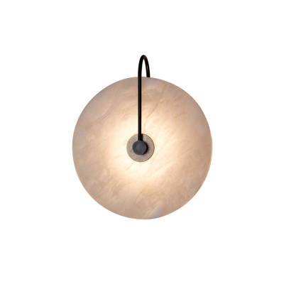 Round Disk Wall Lamp Modernism 1 Light Marble Wall Mounted Lighting for Sitting Room