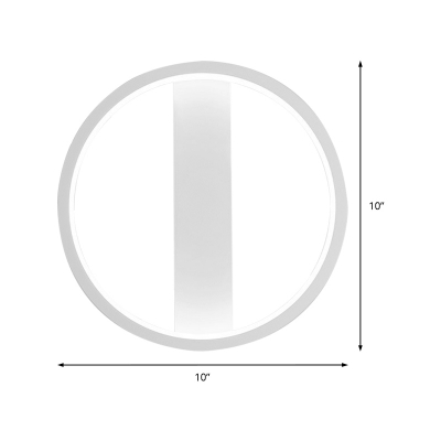 White Circle/Square Wall Lamp Minimalist Metallic Bedroom Led Wall Lighting in Warm/White