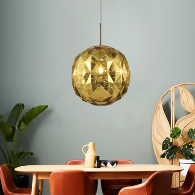 1 Lights Faceted Globe Pendant Light with Acrylic Shade Modern Black/Blue/Copper/Gold/Silver Drop Light