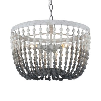 Beaded Pendant Light Rustic Style Wood and Metal 3 Lights Ceiling Chandelier in Rust