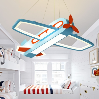 Blue Aircraft Hanging Chandelier Metal and Acrylic Kids LED Hanging Ceiling Light in Warm/White Light