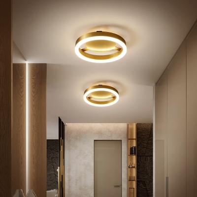 Brushed Brass Flush Lighting Modernism Metal Led Ceiling Flush Mount Light for Foyer