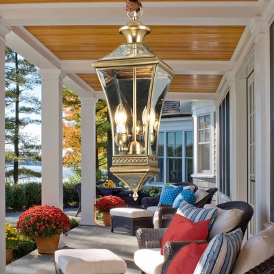 Clear Glass Lantern Pendant Light 2 Lights Vintage Brass Outdoor Lighting for Porch