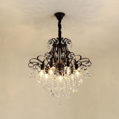 Contemporary Crystal Chandelier Lighting 3/6/7 Lights Indoor Ceiling Pendant Light in Black/Gold with Adjustable Chain