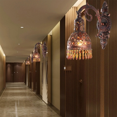 Copper Plated Finish Dome Wall Sconce Light Lodge 1 Light Amber Crystal Sconce Light for Corridor