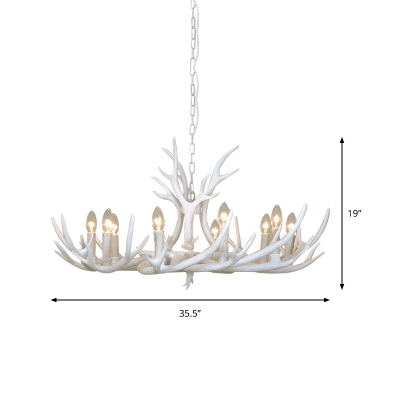 Countryside Tiered Chandelier Lighting with Antlers Resin 4/6/8/10/15 Lights Hanging Lamp in White