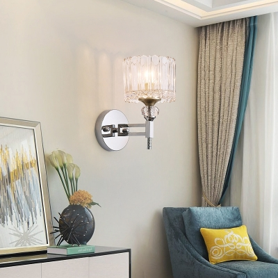Cylindrical Wall Lamp 1 Bulb Modernist Clear Glass Wall Light Sconce with Crystal in Chrome