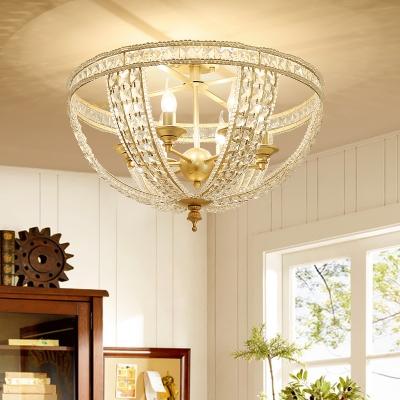Gold Bowl Semi Flush Ceiling Light Vintage Triple Light Semi Flush Lighting for Living Room