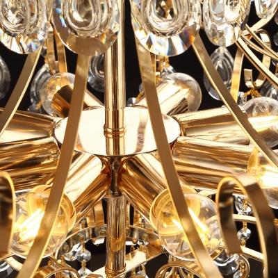 Gold Teardrop Chandelier Pendant Light Modern Crystal 5/6/8 Light Hanging Chandelier for Bedroom
