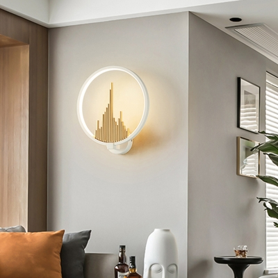 Halo Ring Wall Mounted Lamp Contemporary Led Wall Lamp with Mountain View Design