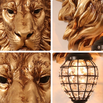 Lion Resin Wall Lamp Country Style 1 Light Metal Lantern Wall Sconce with Crystal in Brown Finish for Hallway