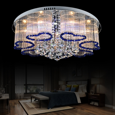 Metal Loving-Heart Ceiling Mount Light Living Room Romantic Style LED Ceiling Lamp in Blue