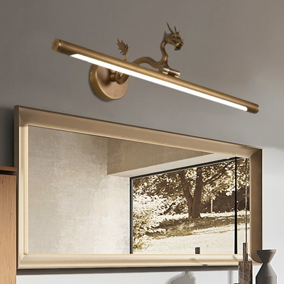 Mid Century Modern Bathroom Vanity Light Metal Brass Black Wall Sconce Light With Dragon Accents 14 18 23 W Beautifulhalo Com