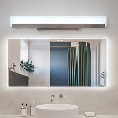 Rectangle Vanity Lighting Modern Simple Acrylic Led Wall Mounted Lamp with Metal Backplate