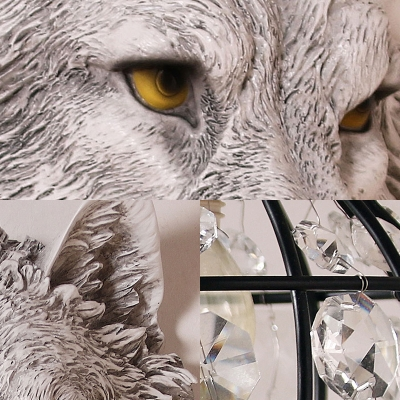 Resin Grey/Gold Wolf Wall Lamp with Crystal Beaded Lampshade 1 Head Country Wall Lighting in Black