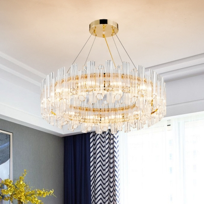 Ring Hanging Lamp for Dining Room, Gold Ring Crystal Chandelier Light Fixture