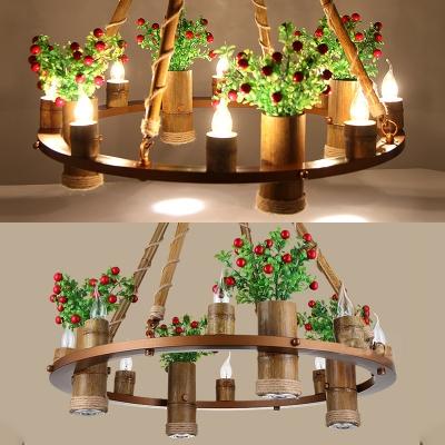 Rustic Round Chandelier Metal 8 Lights Brass Hanging Pendant for Restaurant