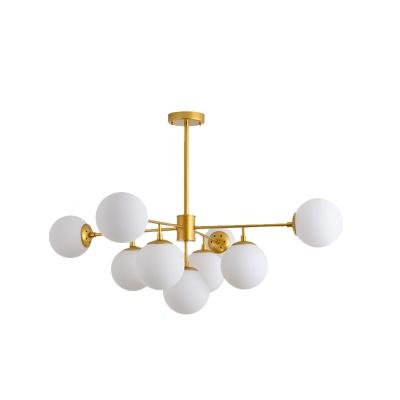 Sputnik Chandelier with Orb Opal Glass Shade 7/9/11 Lights Modern Vintage Hanging Ceiling Light in Black/Gold