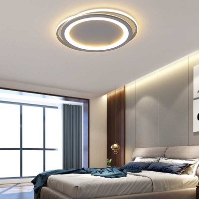 Ultra Thin LED Flush Mount Lighting Modernism Metal Flush Ceiling Light in White/Warm