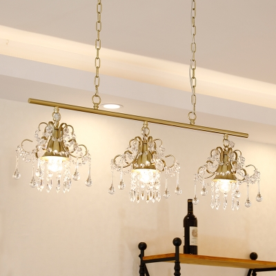 Vintage Flared Pendant Light with Crystal Accents Triple Light Champagne Gold Chandelier Lamp