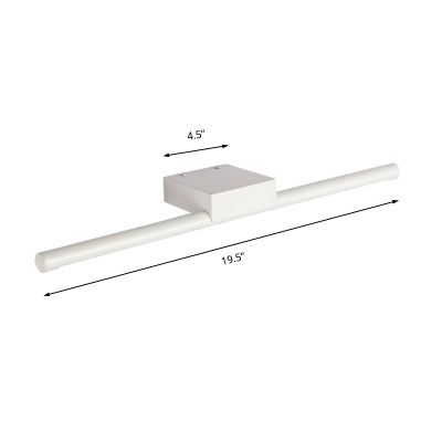 White Cylinder Wall Mount Light Contemporary Metal Led Bath Bar with Diffuser