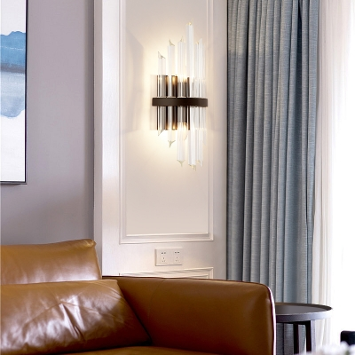 1/2 Pack Tube Sconce Light Contemporary Clear Crystal Sconce Lamp in Black for Dining Room Kitchen