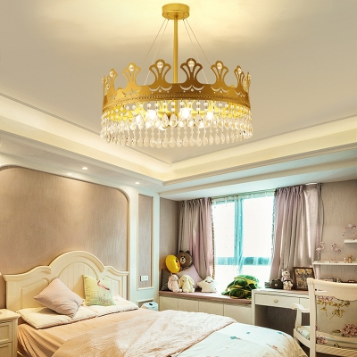 3/4/6 Lights Crown Chandelier Lighting Modern Metal Golden Pendant Lamp with Clear Crystal Prisms, 12