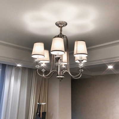 3/6 Lights Rustic Pendant Lamp with Conical Fabric Shade Bedroom Chandelier in Aged Silver
