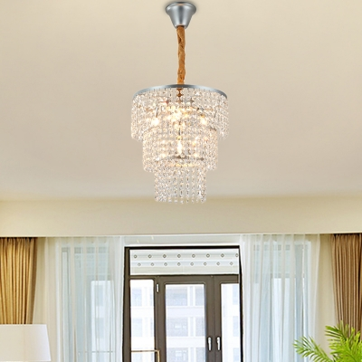 4/5/6 Lights Tiered Chandelier Light Contemporary Clear Crystal Hanging Ceiling Light in Chrome, 12