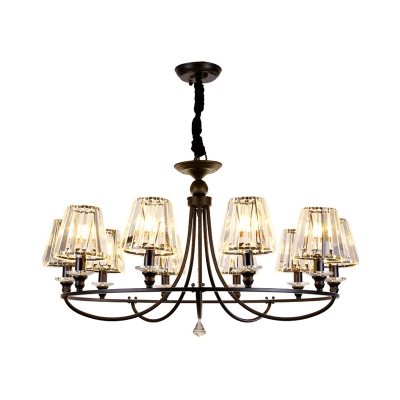 4/6/8/10 Lights Cone Chandelier Light with Clear Crystal Shade Industrial Black Hanging Lamp
