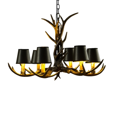 6/8 Heads Conical Chandelier Light with Antlers Country Fabric Ceiling Chandelier in Black