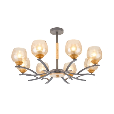 Amber Glass Bowl Ceiling Chandelier Macaron 8 Lights Living Room Chandelier Lighting in Grey/Green