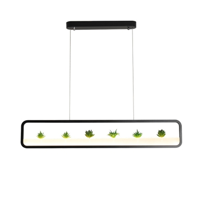 Black/White Linear Chandelier Light Modern Metal Frame Led Pendant Lighting in Warm/White Light, 39