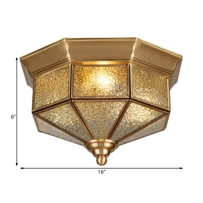 Brass Geometric Flush Mount Ceiling Light Dimple Glass 3 Lights Vintage Ceiling Flush Light