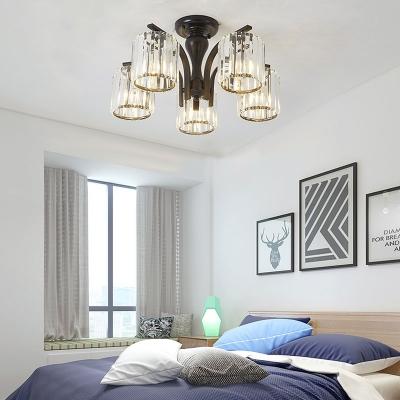 Clear Crystal Drum Ceiling Light 3/5 Lights Modern Black Semi Flush Ceiling Lamp for Bedroom