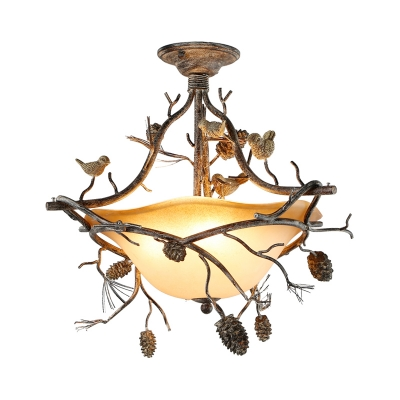 Country Inverted Semi Flush Lamp Frosted Glass 3 Lights Semi Flush Mount Light with Pinecone and Branch