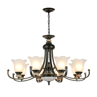 Frosted Glass Scalloped Hanging Ceiling Light 3/6/8/10/12 Heads Modern Ceiling Chandelier in Black for Living Room