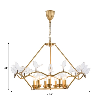 Gold Hanging Lamp with Clear Glass Bird 9 Lights Vintage Pendant Lighting for Bedroom