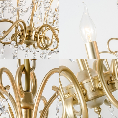Gold Pendant Lighting with Candle Modern Metal 3/6 Lights Hanging Ceiling Light with Crystal Accents