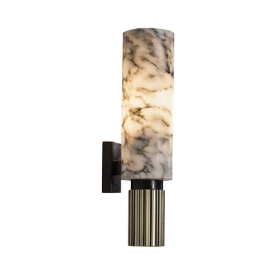 Marble Tube Wall Sconce Lighting Country Style 1 Light Wall Mounted Lighting in Nickel Finish