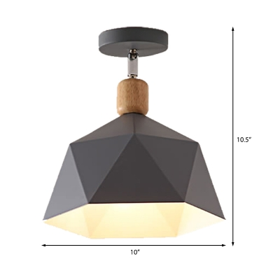 Metal Hexagon Ceiling Mount Light Adjustable Macaron 1 Head Gray/White/Green Semi Flush Mount Ceiling Light for Corridor
