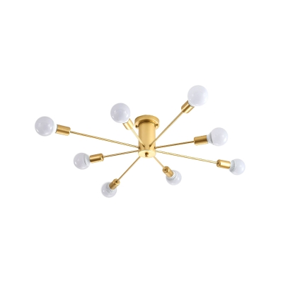 Mid Century Modern Sputnik Ceiling Light Metallic 6/8/10 Lights Gold Semi Flush Lighting