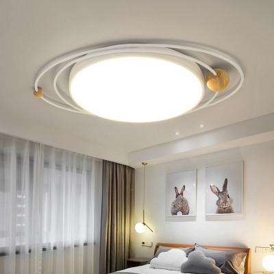 Nordic Style Round Flush Lighting with Orbit Design Metallic Indoor Ceiling Light in Green/Grey/White, 21