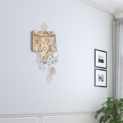 Open Bulb Metal Wall Mount Lamp 1/3-Light Modern Shell Sconce Light Fixture with Pearl in Gold
