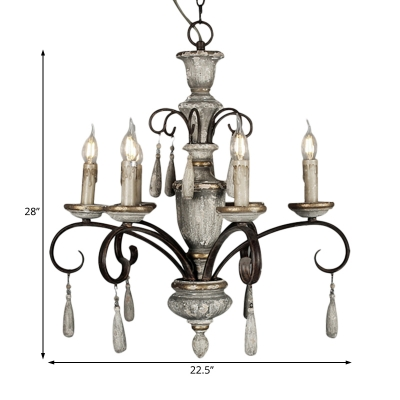 Rustic Hanging Light with Candle 6 Light White Wood Chandelier Lighting for Foyer